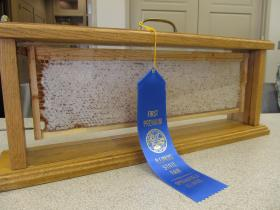 An award on display at meeting of the Fox Valley Beekeepers Association