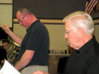 "Dixon Municipal Band Director Mark Bressler and ""Reagan of Illinois\"" narrator Paul Kattner"