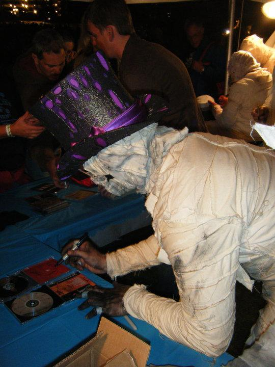The mummies autographed late into the night for all of their fans at WNIJ's Left Bank Stage.
