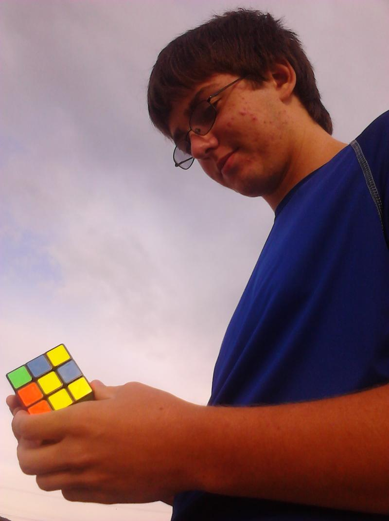 16-year-old John Brechon displays his cubing abilities
