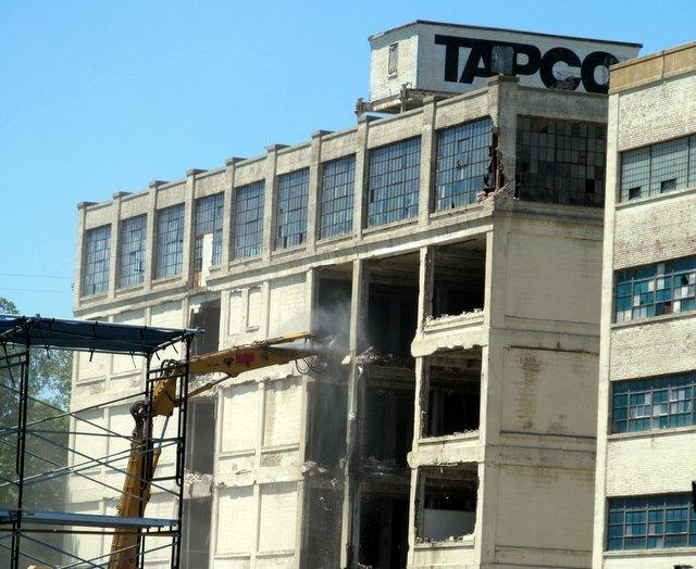 Tapco Building being taken down piece by piece.