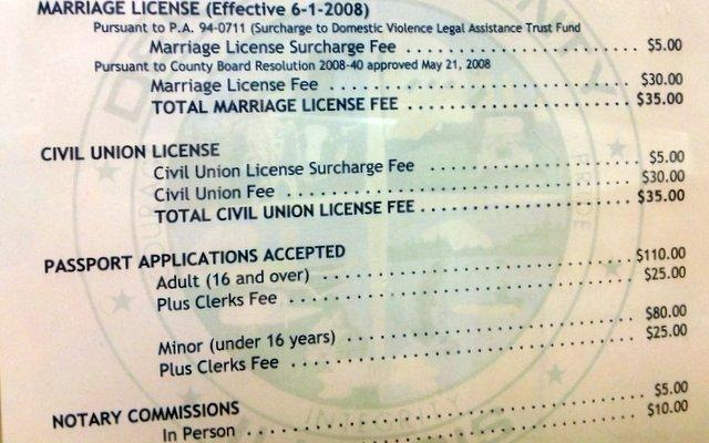 The price of marriage/civil unions at the DeKalb County Clerk's office.