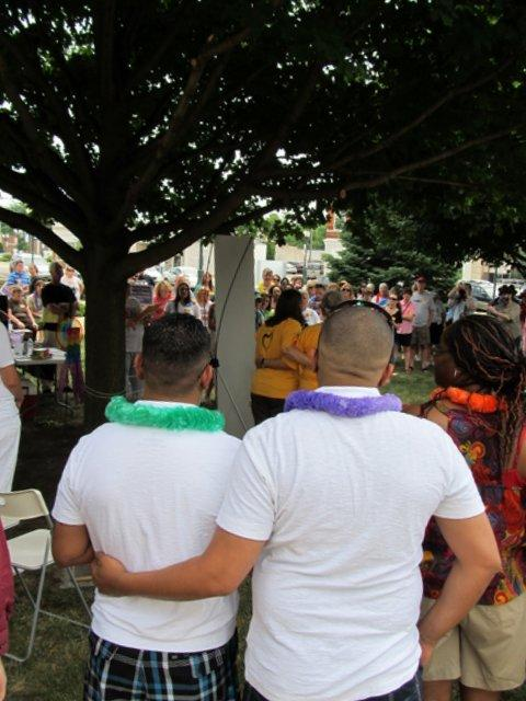 Angel Cruz and Joel Fillmore wait their turn at the civil unions ceremony in Sycamore, July 2011.