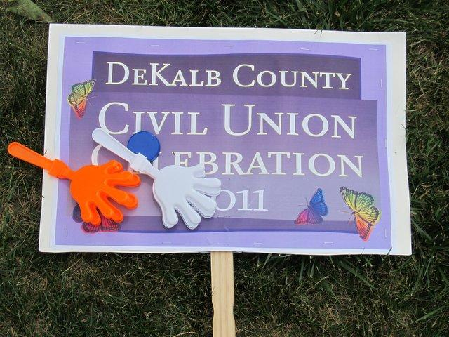 Dozens of these signs were carried around the DeKalb County courthouse during the July 2011 civil unions celebration.