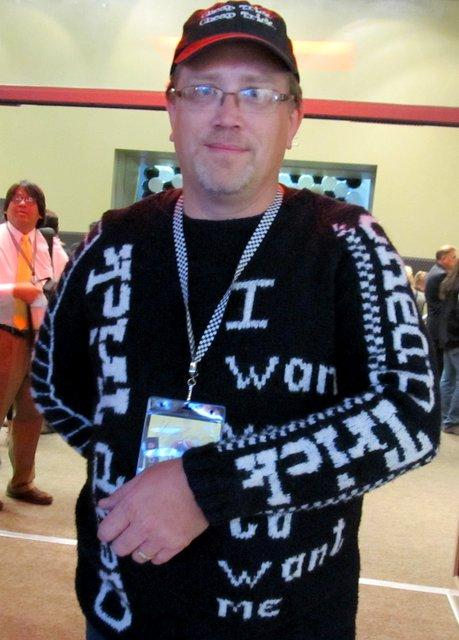 Don Dargel models his vintage Cheap Trick sweater. He had it custom-made by one of Rick Nielsen's sweater-makers.