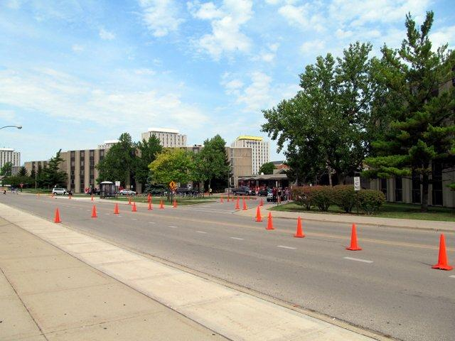 All cones point toward Lincoln Hall, where students hauled in everything they'll need to get the semester underway at NIU.