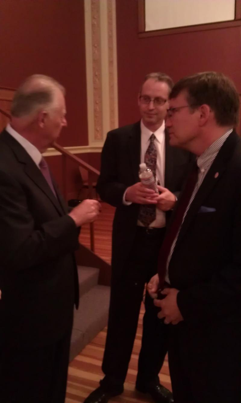 NIU President John Peters speaks with campaign finance experts Richard Hasen (Left) and Bradley Smith (Right)