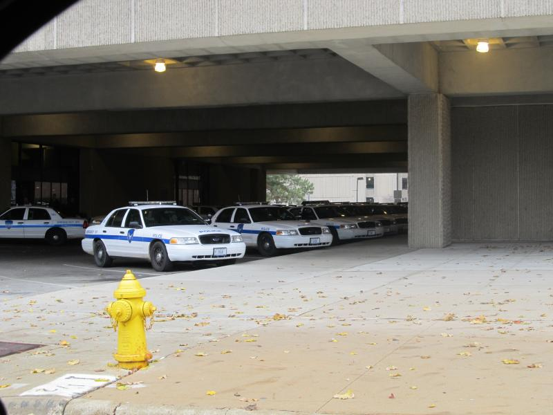 Squad cars parked outside Rockford's police headquarters