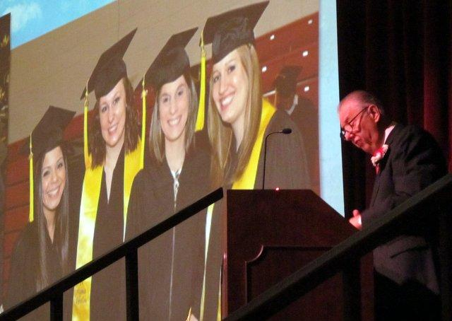 NIU President John Peters delivers his State of the University address, a multi-media affair.