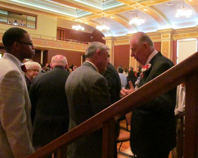 State Representative Bob Pritchard chats with NIU president John Peters following the annual State of the University address.