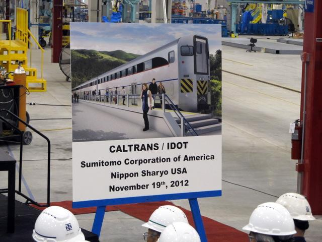 Image of the trains to be produced by Nippon Sharyo in Rochelle, IL under four state high speed rail contract.