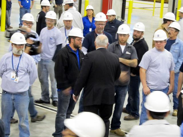 Governor Pat Quinn greeting workers at Nippon Sharyo in Rochelle.