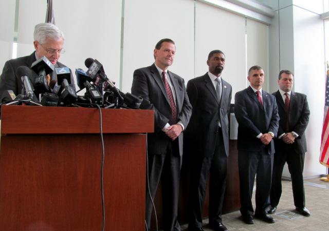 Acting U.S. Attorney Gary Shapiro, FBI Acting Special Agent-in-Charge William Monroe, U.S. Marshal Daryl McPherson, Assistant U.S. Attorneys Joseph Pedersen and Scott Paccagnini.