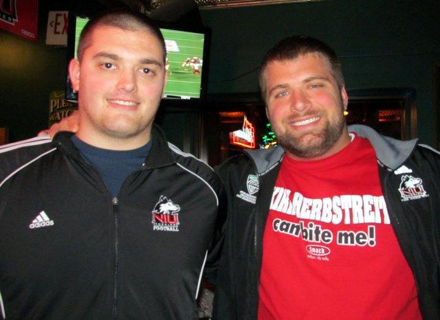 Former NIU players Joe Pawlak and Scott Wedige watched the game from DeKalb.