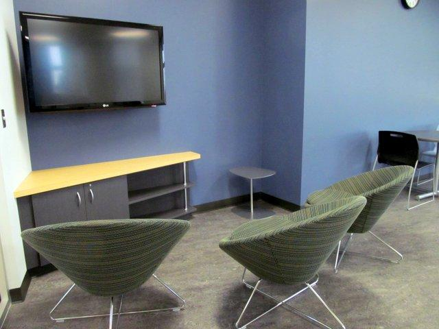 Students chose the chairs in the new game room at Kishwaukee College