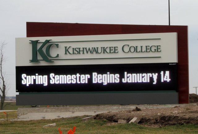 New sign out front of Kishwaukee College