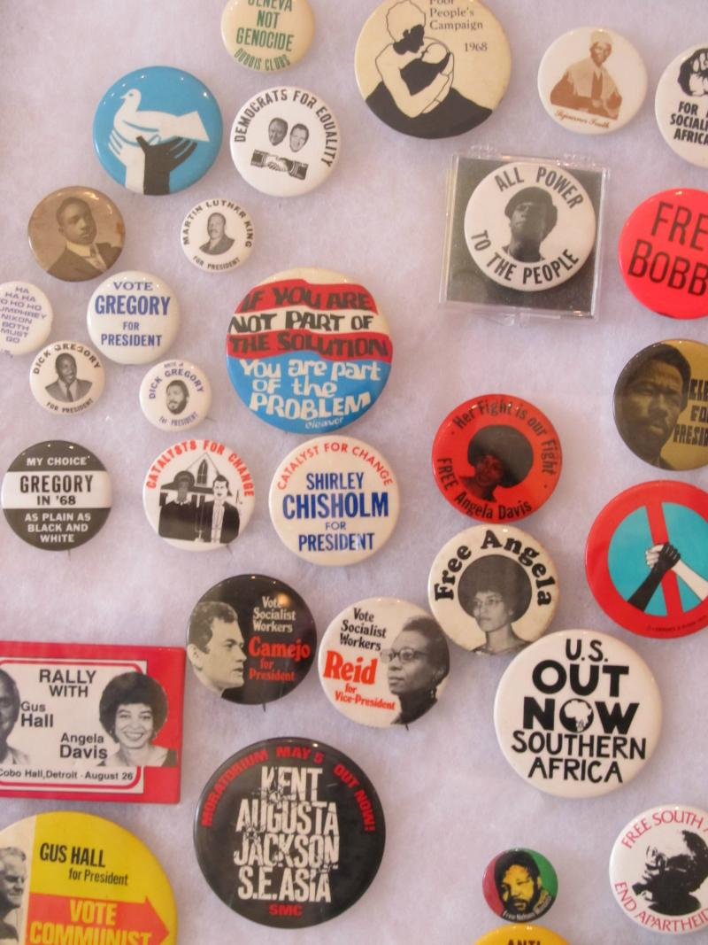 Civil Rights Button Display at Just Goods in Rockford
