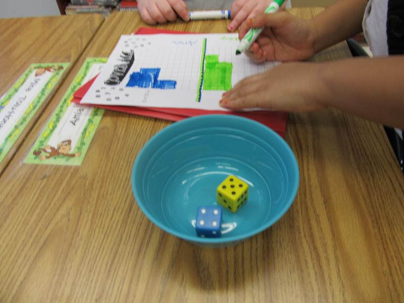 "Freeport students play the ""dice game"" to complete a math activity on their choice board"