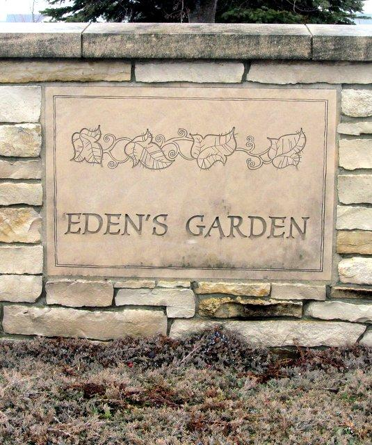 One of the entrances for Eden's Garden subdivision, DeKalb .