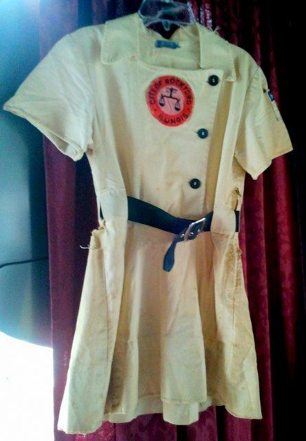 "The ""dirt on the skirt"" is still visible on the late Dottie Key's Rockford Peaches uniform."