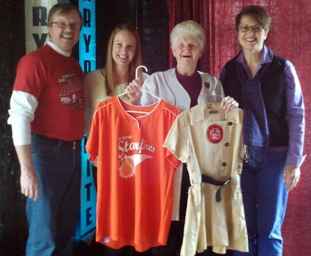 "Helen ""Sis Waddell"" Wyatt and family model the past and future uniforms of women's baseball in Rockford"