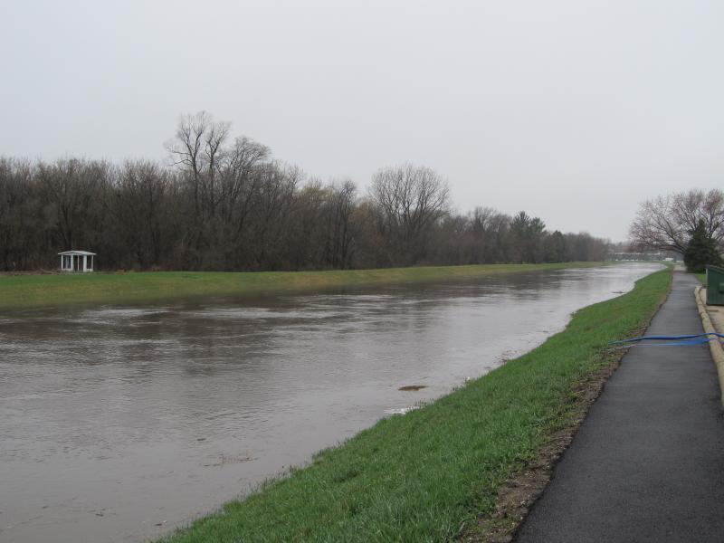 The Kishwaukee River near First Street in DeKalb