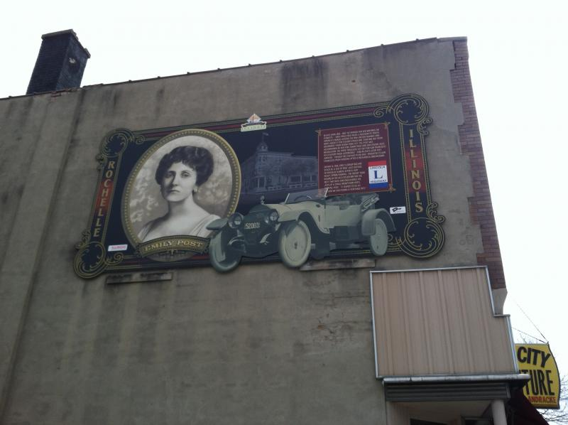 This easter egg mural commemorates the two days writer Emily Post stayed in Rochelle while her vehicle was stranded in mud on Lincoln Highway.