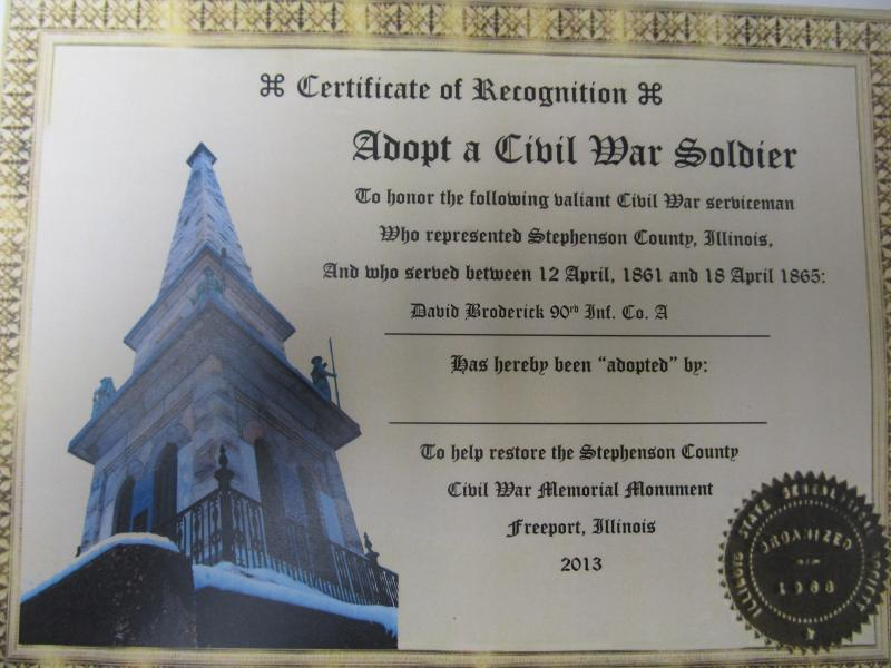 Sample certificate to raise donations for monument restoration