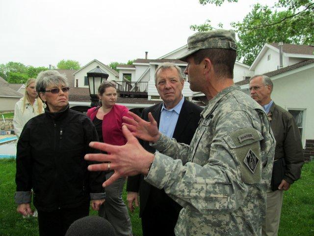 Colonel Mark Deschenes of the Army Corps of Engineers in Rock Island explains possible changes along the levee