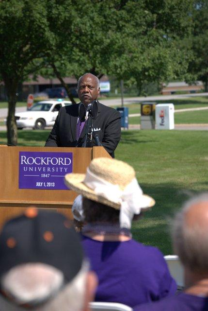 Rockford University President Robert Head speaks Monday at the announcement of the name change from Rockford College.