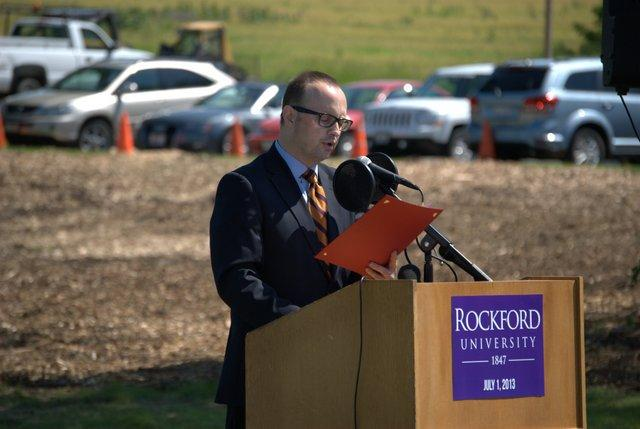 Rockford Mayor Larry Morrissey offers his good wishes to Rockford University.