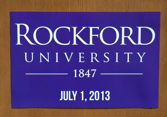 The new logo for Rockford University and the inaugural date of that status.