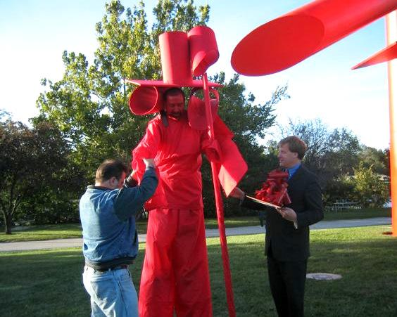 Then-Mayor Doug Scott comes face to face with the living embodiment of Symbol, 2003.