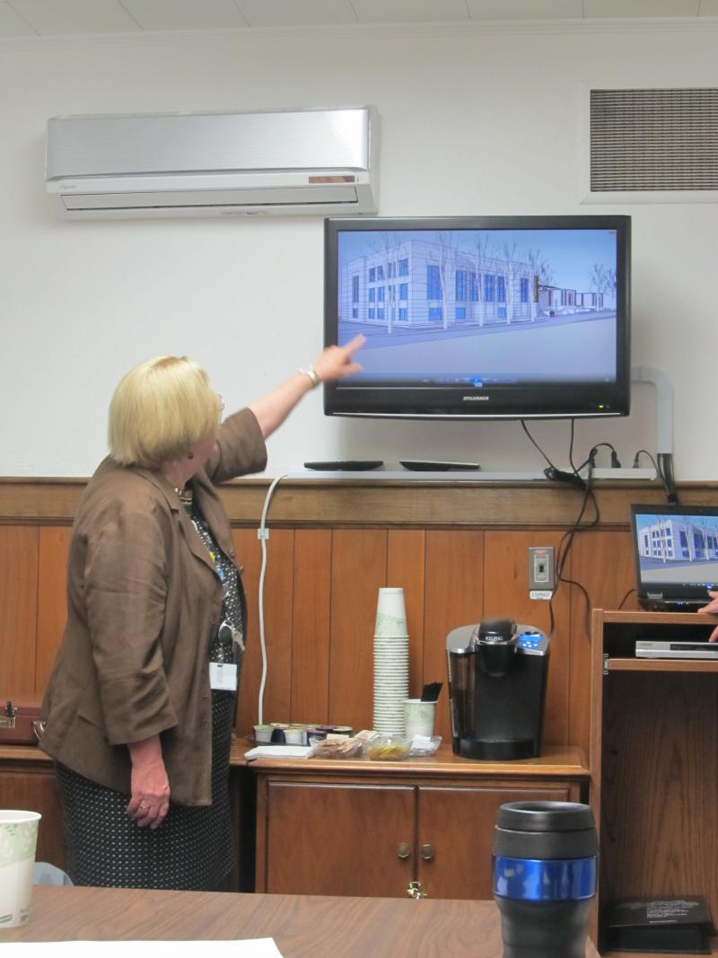DeKalb Library Director Dee Coover explains expansion plans at a public workshop