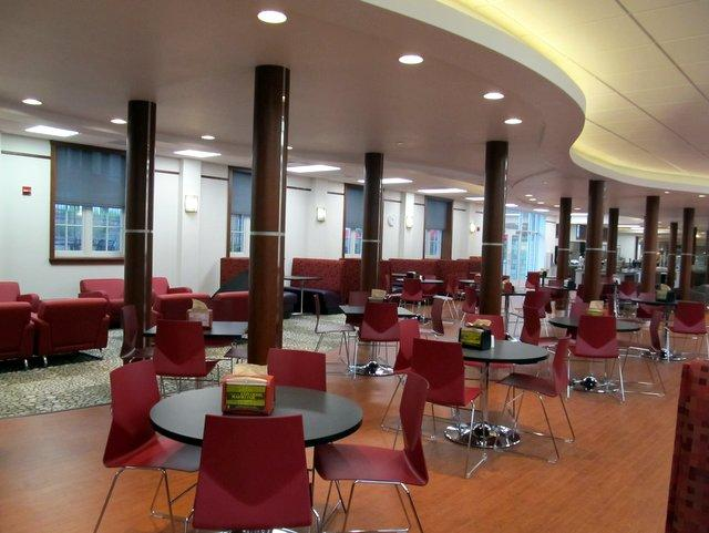 The refurbished dining hall in Gilbert Hall