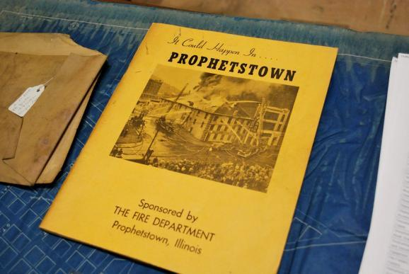 an undated pamphlet retrieved from the Prophetstown Historical Society prepares residents in the case of a large-scale fire. Portions of the downtown were destroyed in a July 15th fire