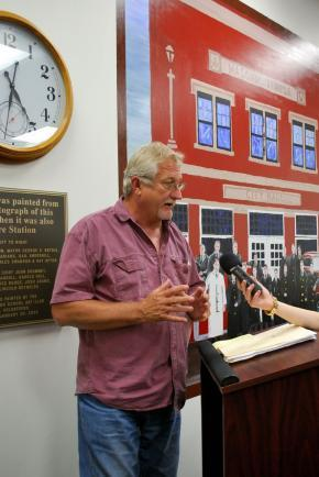 Mayor Steve Swanson talks about rebuilding efforts after the July 15th fire
