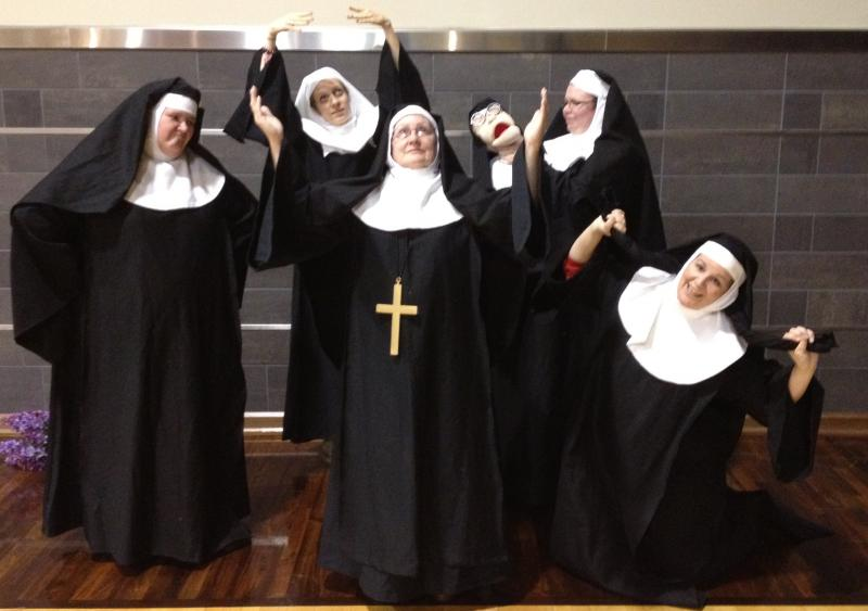 "The Little Sisters of Hoboken, with Jennifer Thompson at right, in the Main Street Players production of ""Nunsense."""