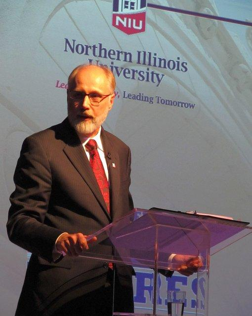 NIU President Doug Baker delivers his inaugural speech.