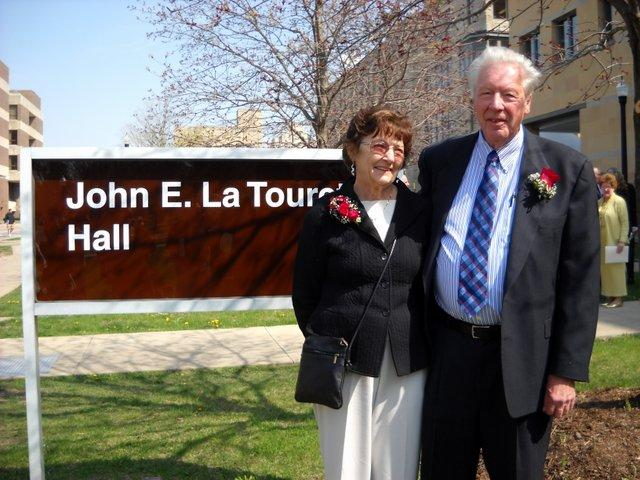 John and Lili La Tourette during dedication ceremonies for LaTourette Hall in Spring 2010