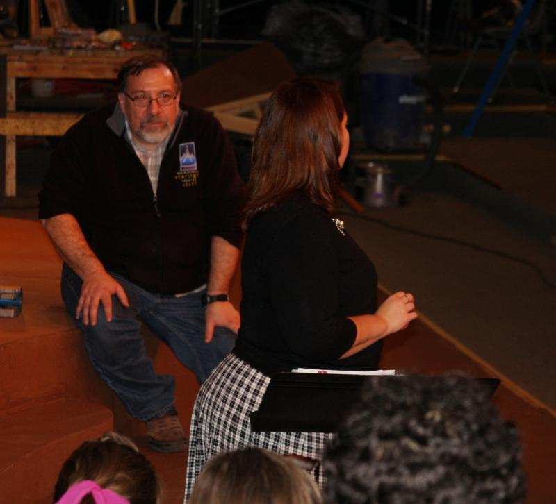 "Mike Webb directs a rehearsal of ""The Wizard of Oz"" for Rock Valley College Studio Theatre"