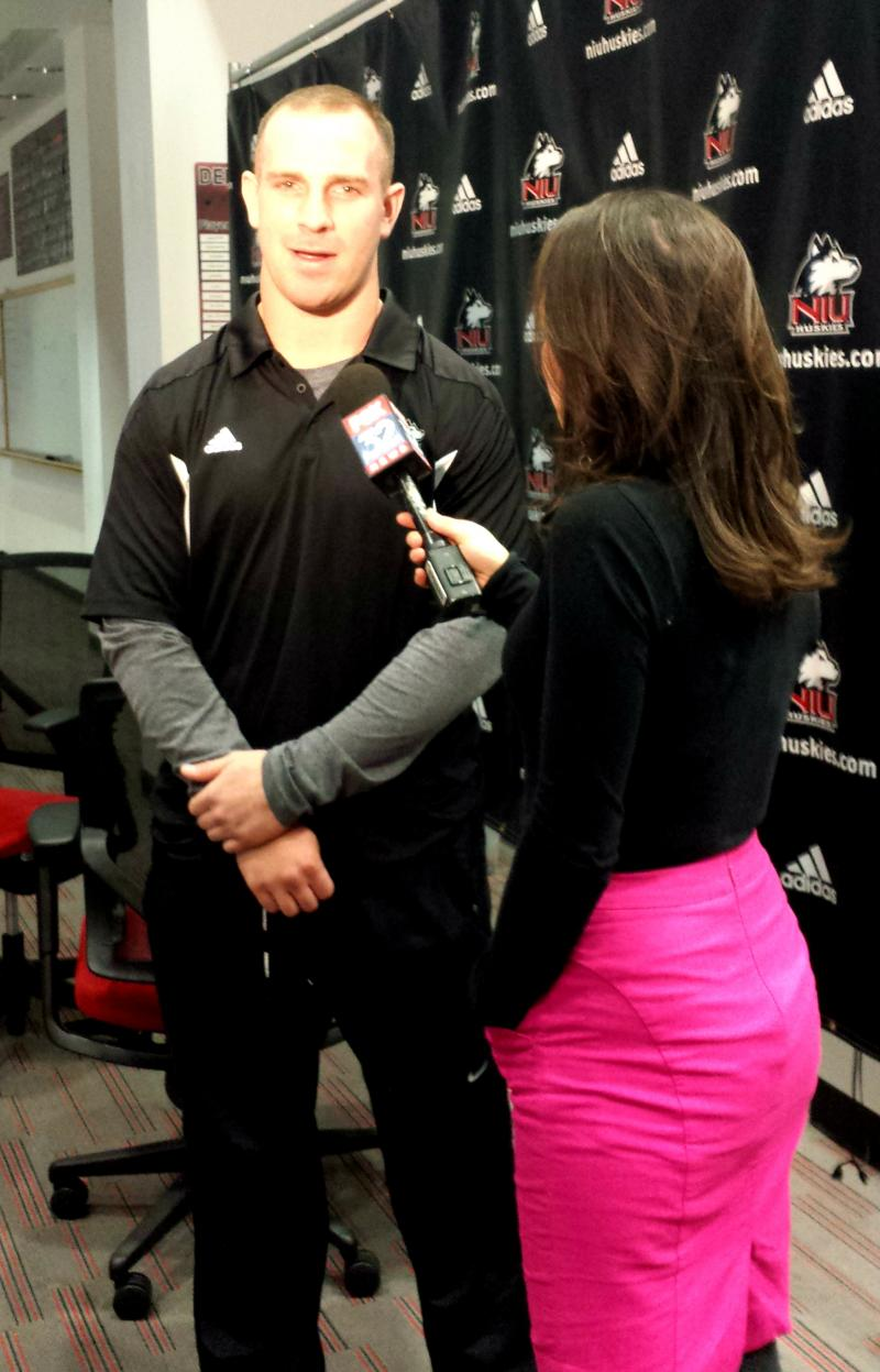 Jordan Lynch talks with a reporter about his Heisman candidacy