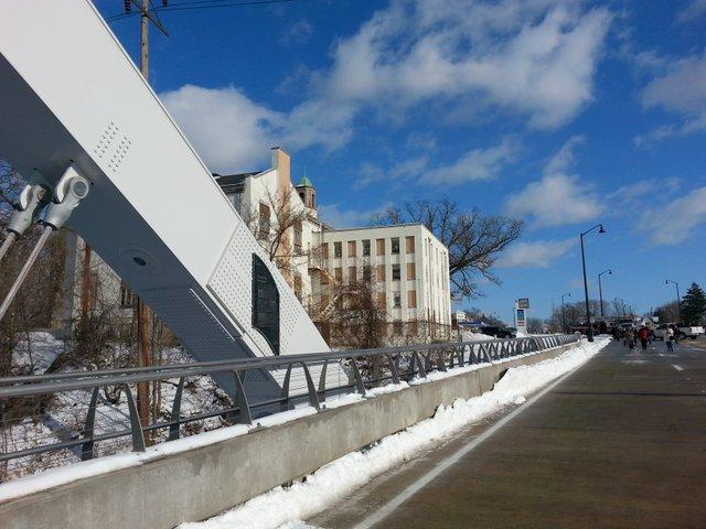 The new Morgan Street Bridge contrasts with the old Rockford College on Semiinary Street