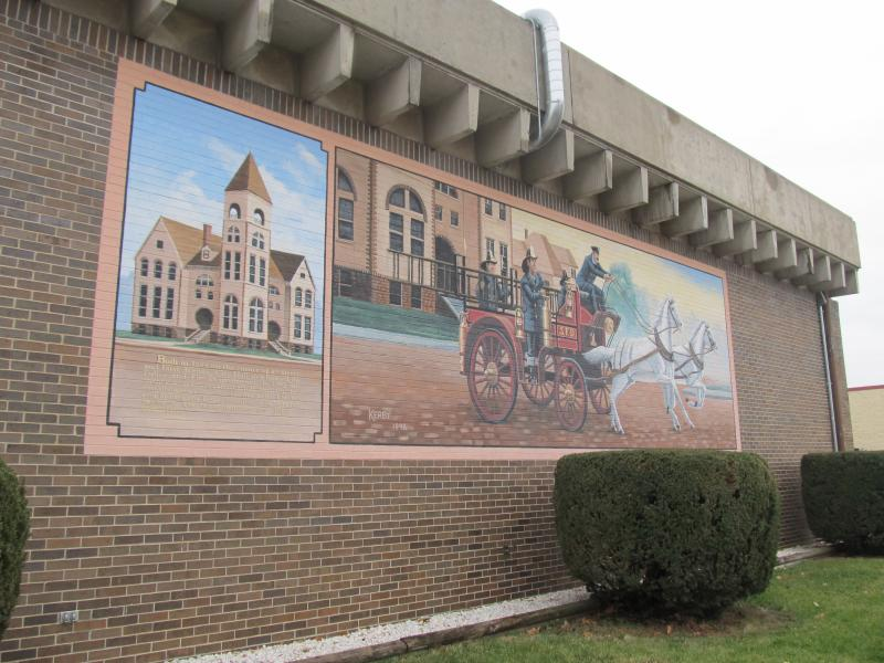 Mural on the side of the Sterling Fire Department Building