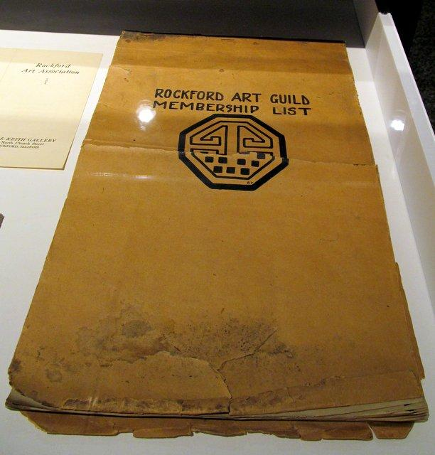 The Rockford Art Guild's membership list, on display at Rockford Art Museum's centennial exhibition.