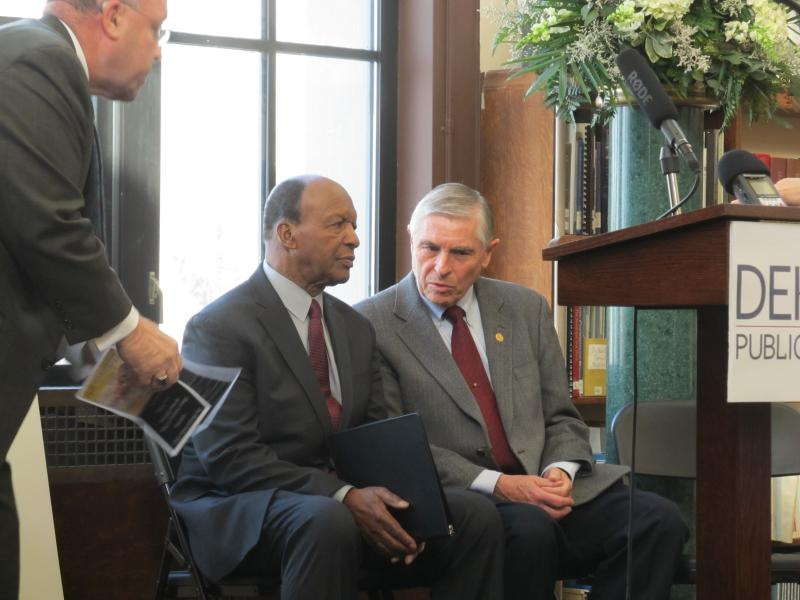 DeKalb Mayor John Rey (left), Illinois State Librarian Jesse White (center), DeKalb-area state representative Bob Pritchard (right)