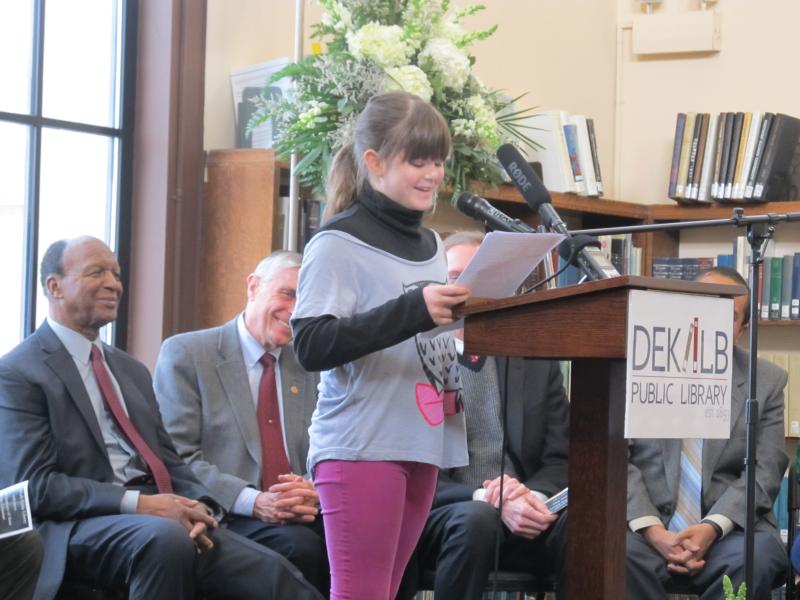 Jefferson 5th grader Emily Overton talks about her visits to the library