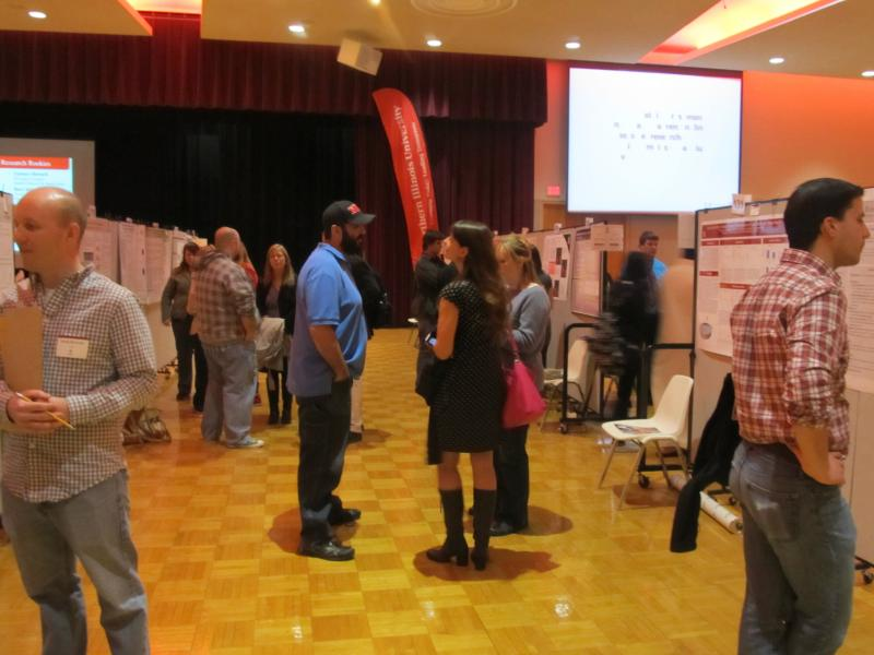 Students present their research projects for the public and judges