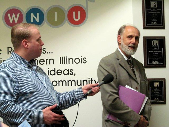 WNIJ's Mike Moen captures comments from NIU President Doug Baker