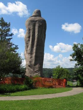 "Larado Taft's monumental sculpture ""The Eternal Indian"" -- also known as Black Hawk -- gazes out over the Rock River near Oregon, Ill."